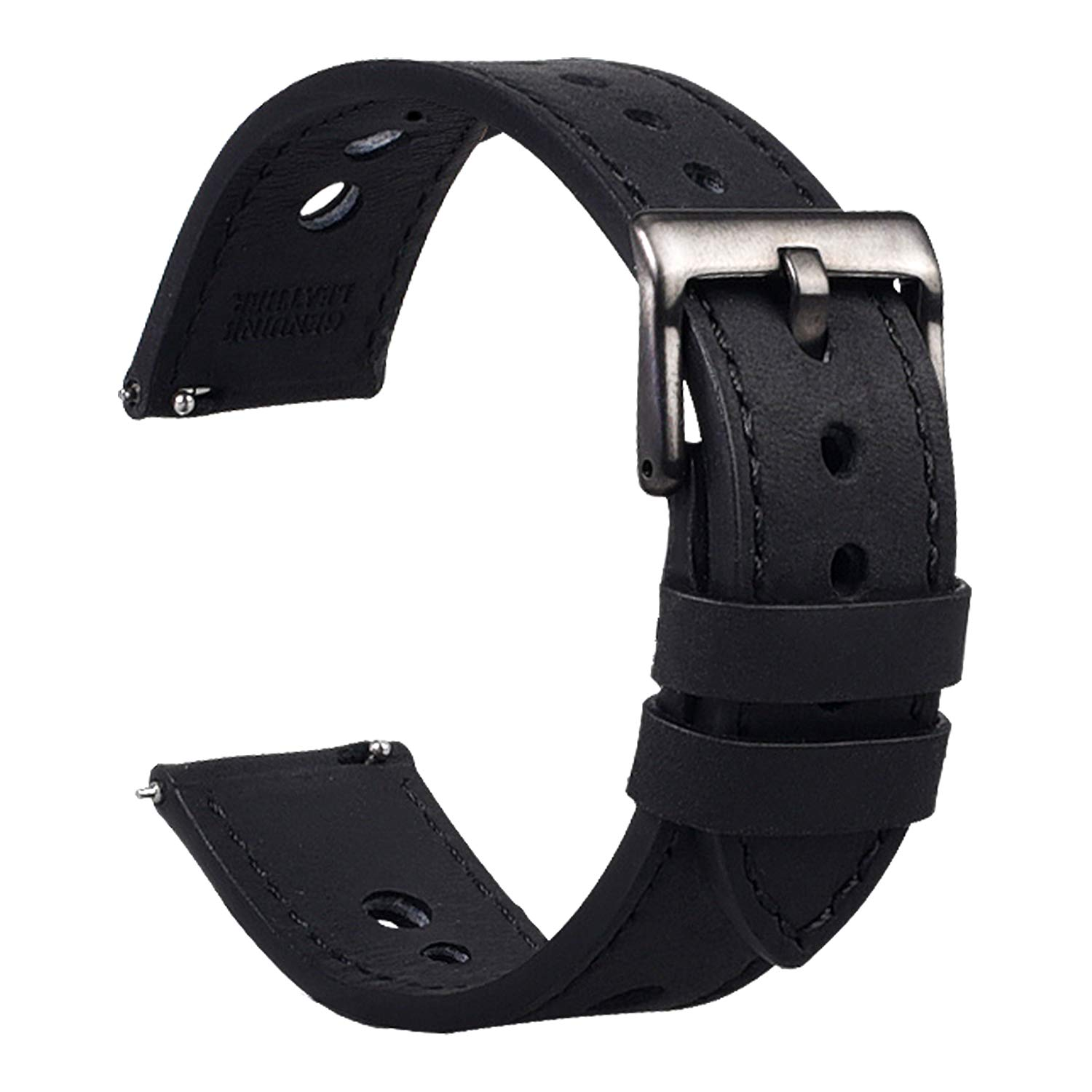 Cauwsai Leather Watch Band - Quick Release Double-Sided Leather Watch Strap - 18mm 20mm 22mm 24mm - 8 Color