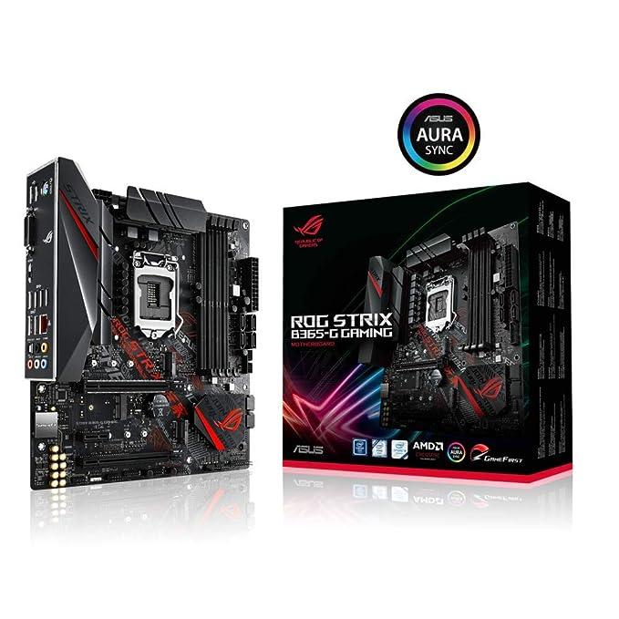 ROG STRIX B365-G GAMING, Placa base (Intel LGA-1151 B365 mATX con Aura Sync RGB, protector de E / S preinstalado, M.2 dual, HDMI, DVI, SATA a 6 Gbps y USB 3.1 Gen 2