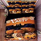 Deluxe Yellow Pumpkin Cotton Microfiber 3pc 90''x90'' Bedding Quilt Duvet Cover Sets 2 Pillow Cases Queen Size