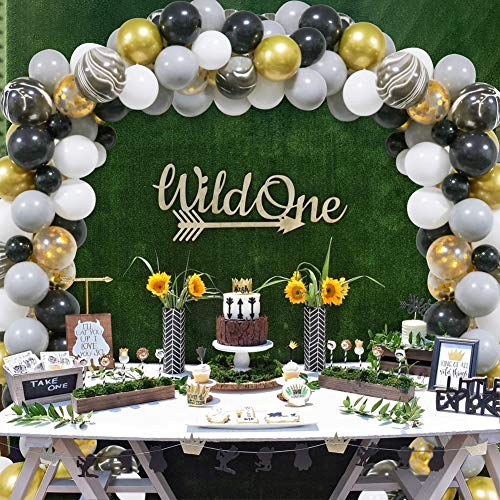 Black&Gold Balloon Garland Kit, 80pcs Gold and Black Agate Marble Balloons White Grey Gold Confetti Balloons for Birthday Bachelorette Wedding Decor Bridal Shower Baby Shower Retirement Anniversary Graduation Party Decoration (Black And White Strip Balloons)