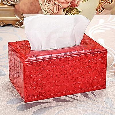 ZMINGM Cuero Tejido Caja servilleta de Papel Cartón Cuadro Estilo Creativo Coche Familiar Salón Mesa de café Escritorio,Patrón de cocodrilo roja s: Amazon.es: Hogar