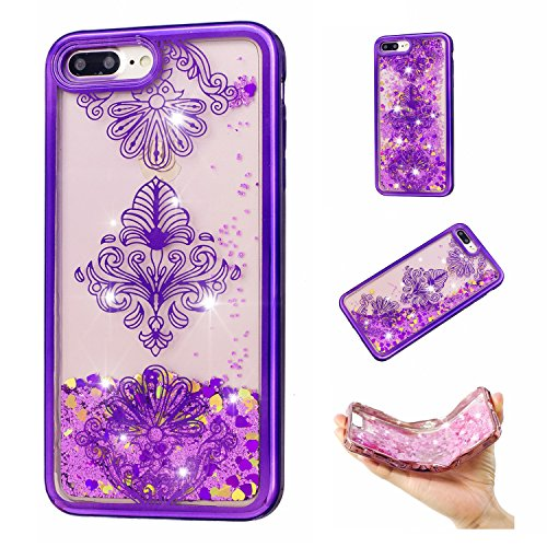 iPhone 7 Plus /iPhone 8 Plus Case Clear,Vandot Electroplating Bling Glitter Transparent Luminous Diamond Quicksand Hourglass Timer Sand Clock Dynamic Floating Protective Skin Cover - Purple (Blossom Display Clock)