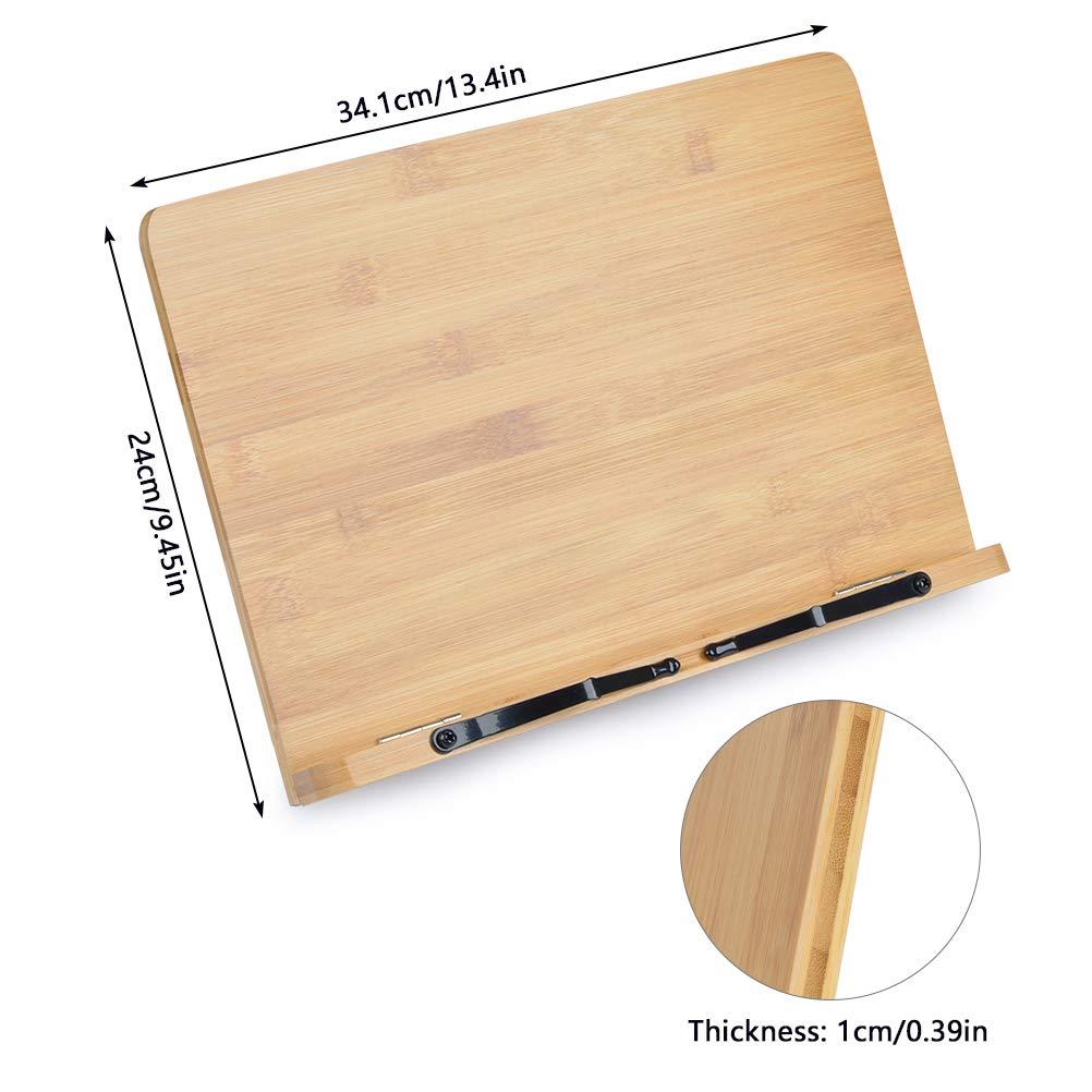 34*24cm FOCCTS Soporte de Bamb/ú Ajustables Ideal para Leer Estudiar,Sostener,Libros de Cocina,Notas Musicales,IPad y Tablet Ver Videos