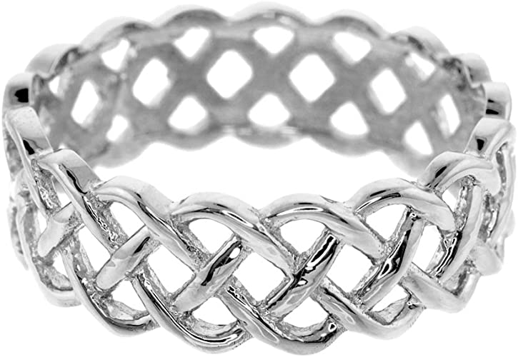 Celtic Wedding Bands Fine 10k White Gold Trinity Knot Eternity Ring