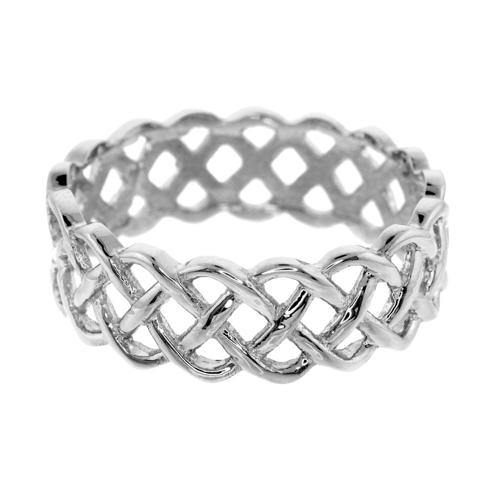 Fine 14k White Gold Celtic Knot Band Eternity Ring (Size 7.75)