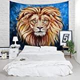 African Lion Tapestry - Vivid 3D Print College Dorm Room Decor Accessories Animal Wall Hanging Watercolor Wildlife Backdrop Yoga Mat Table Cloth Bed Cover - Queen Size, 79 x 60 inches