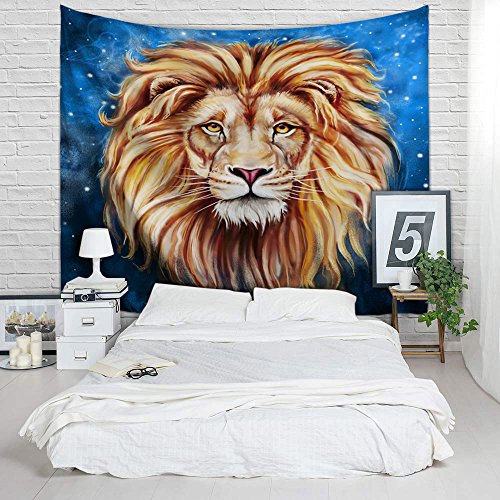 African Lion Tapestry - Bedroom Wall Hanging Décor College School Dorm Room Accessories, Backdrop Decoration Beach Towel, Birthday Graduation Fathers Day Gifts for Men Teens, Queen Size 79 by 60 (Halloween Party Photos 2017)