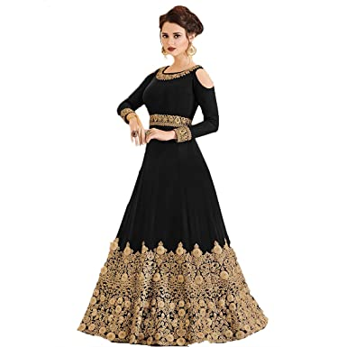 775b35039e Hi Fi Fashions Women's Georgette Semi-Stitched Beautiful Embroidered Work  Cold Shoulder Long Anarkali Party