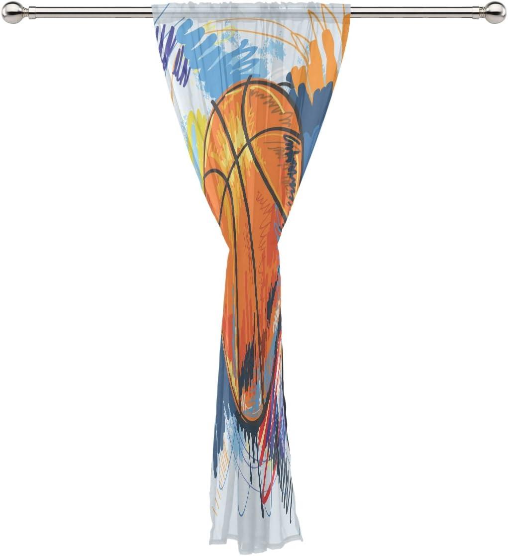 COOSUN Pallacanestro pittura tenda pura Pannelli Tulle poliestere Voile Window Treatment Panel tende per Camera da letto Living Room Home Decor 55x78 pollici in Multi 1 pezzo 55x78x1