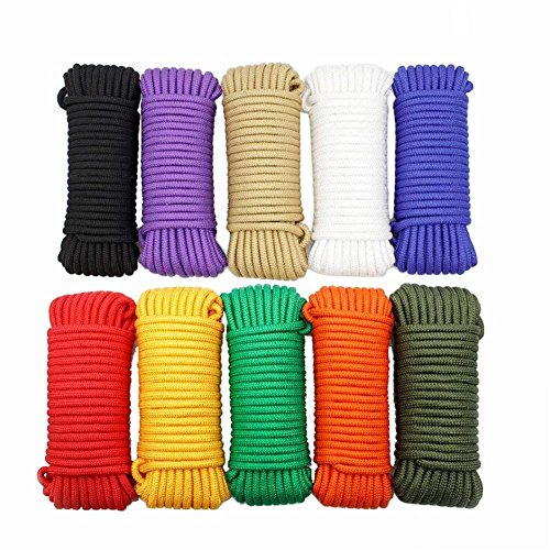 (8mm Nylon Rope Binding Rope Packaging Colorful Rope Curtain Drawstring Outdoor Clothesline Weaving Rope Hand-Made Beaded Rope (Blue, 30m))
