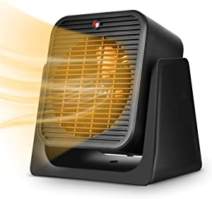 2 in 1 Space Heater – Portable Personal Quiet Electric Ceramic Combo Heater Fan for All Year Around, Fast Heating, Tip Over & Overheat Protection Air Circulating for Home, Office, Bedroom, Indoor Use