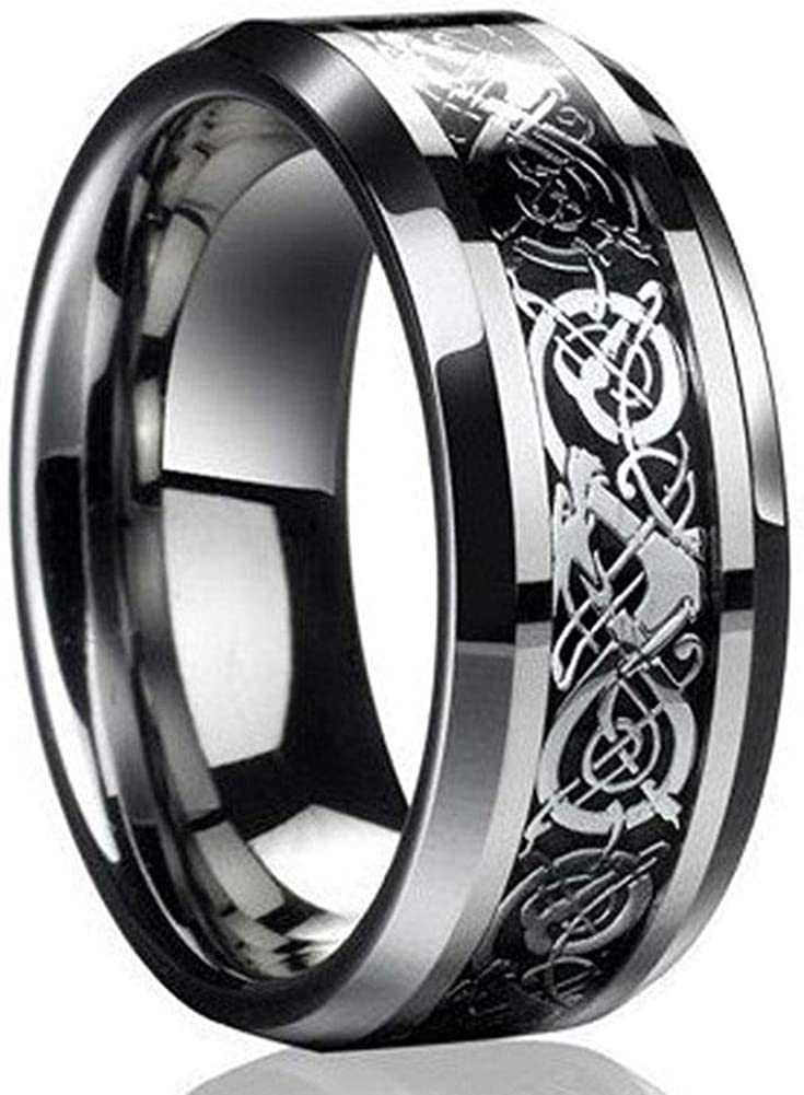 Silver Black Celtic Dragon Titanium Stainless Steel Mens Wedding Band 8mm Jewelry Rings