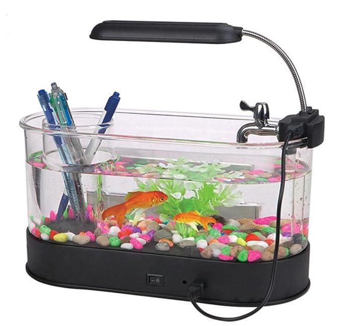 AN-LKYIQI USB mini Desktop LCD lámpara luz pecera acuario LED reloj calendario con filtro y bomba de agua, pecera adornos. , black: Amazon.es: Deportes y ...