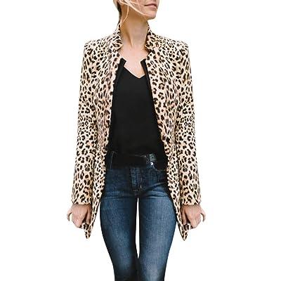 Sttech1 Women's Cozy Leopard Lapel Long Sleeves Open Front Cardigan Long Coat Overcoat: Clothing