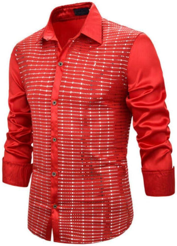 YFSLC Studio Camisa De Manga Larga Hombre,Rojo Hombres