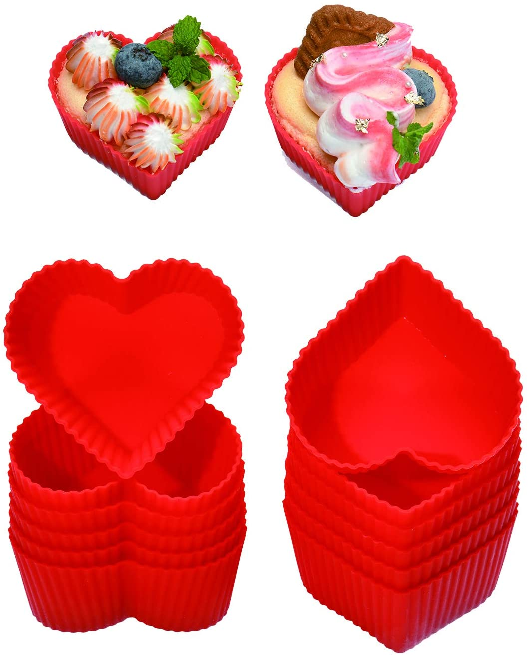 Silicone Baking Cups Cupcake Liners - Non-Stick Pastry Muffin Liner Molds,2.75 Inch Mini Cupcake Silicone Mold, Resusable Storage Container,Heart, 12 Pack