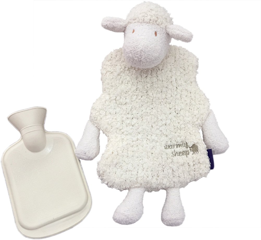Happy Lily 500ml Classic Rubber Hot Water Bottle with 1 Cute Sheep Cover, White, Hot & Cold Therapies, Great for Pain Relief/ hot heat- Best Gift for Christmas