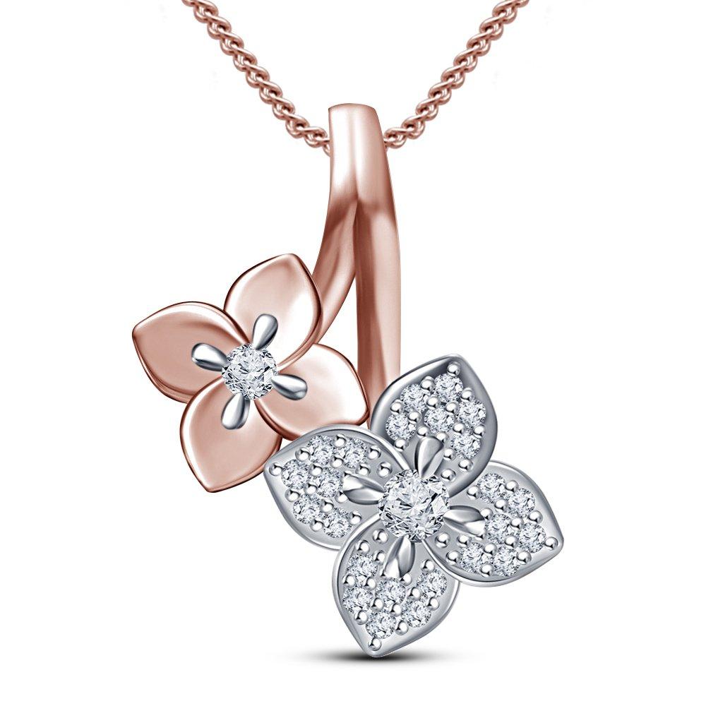 TVS-JEWELS 14k Rose Gold 925 Silver Round Cut Sim Diamond Double Flower Pendant W// Chain Set