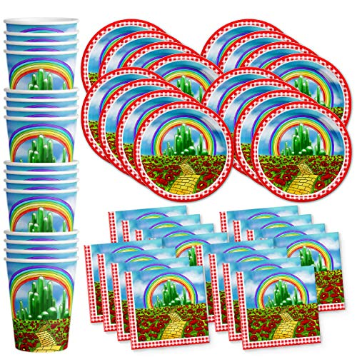 The Wonderful Wizard of Oz Birthday Party Supplies Set Plates Napkins Cups Tableware Kit for 16]()