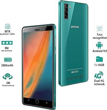 Moviles Libres 4G, 16GB ROM Android 9.0 5MP+8MP, 5.0 Pulgadas Smartphone Libre Dual SIM, 3400mAh Quad Core Face ID Moviles Buenos (2 x Micro SIM +1 MicroSD- Verde: Amazon.es: Electrónica