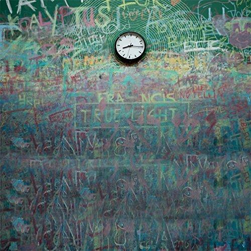 AOFOTO 6x6ft Photography Girl Backgrounds Chalk Graffiti Wall Clock Blackboard Baby Chalkboard Toddler Student Kid Boy Artistic Portrait Photoshoot Backdrop Photo Shoot Studio Props Video