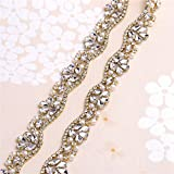 Rhinestone Applique Belt for Bridal Sash Crystals and Pearls-Hot Fix or Sew on-Gold-1 Yard(36x0.83in)