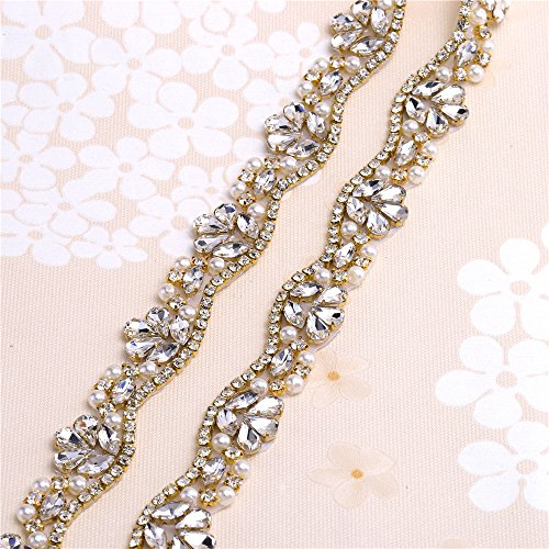 Rhinestone Applique Belt for Bridal Sash Crystals and Pearls-Hot Fix or Sew on-Gold-1 Yard(36x0.83in) by FANGZHIDI