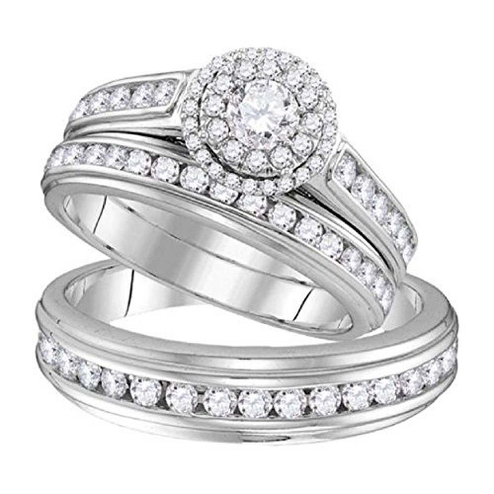 Silvostyles 1.58 ct Round Cut Diamond 14k White Gold Fn Wedding Ring Trio Set For Him & Her