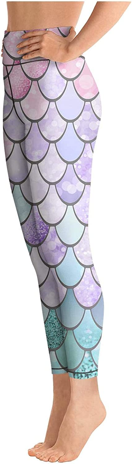 RTYTIYLIT Rainbow Beautiful Mermaid Scales Womens Tights Funny for Women