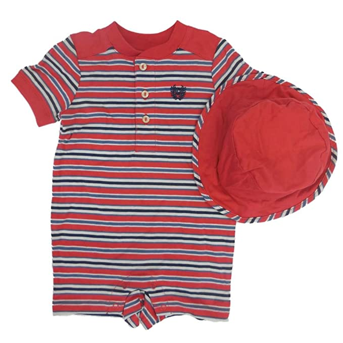 d08d85ebf899 Amazon.com  Chaps Infant Boys Red Striped Romper Bucket Hat 6m  Clothing
