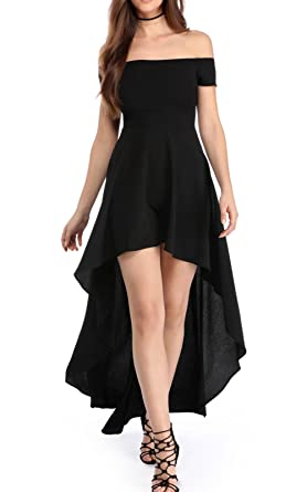 LANOMI Women Off Shoulder Party Evening Ball Gown Skater Maxi Dress Front  Short Back Long Dresses (UK 16 18 78f7cc898