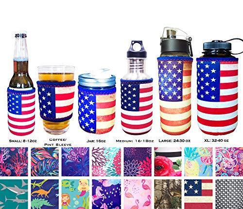 - Koverz Neoprene 16-18 oz 500ml Water Bottle Insulator Cooler Coolie - Vintage American Flag