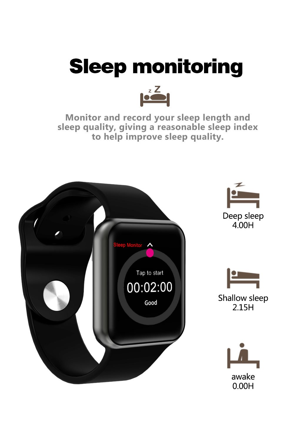 Amazon.com: SHENGMO I3S smart watch support heart rate monitor blood pressure reloj inteligente fitness bracelet PK DM09 GT88 QW08 watches for men (black): ...