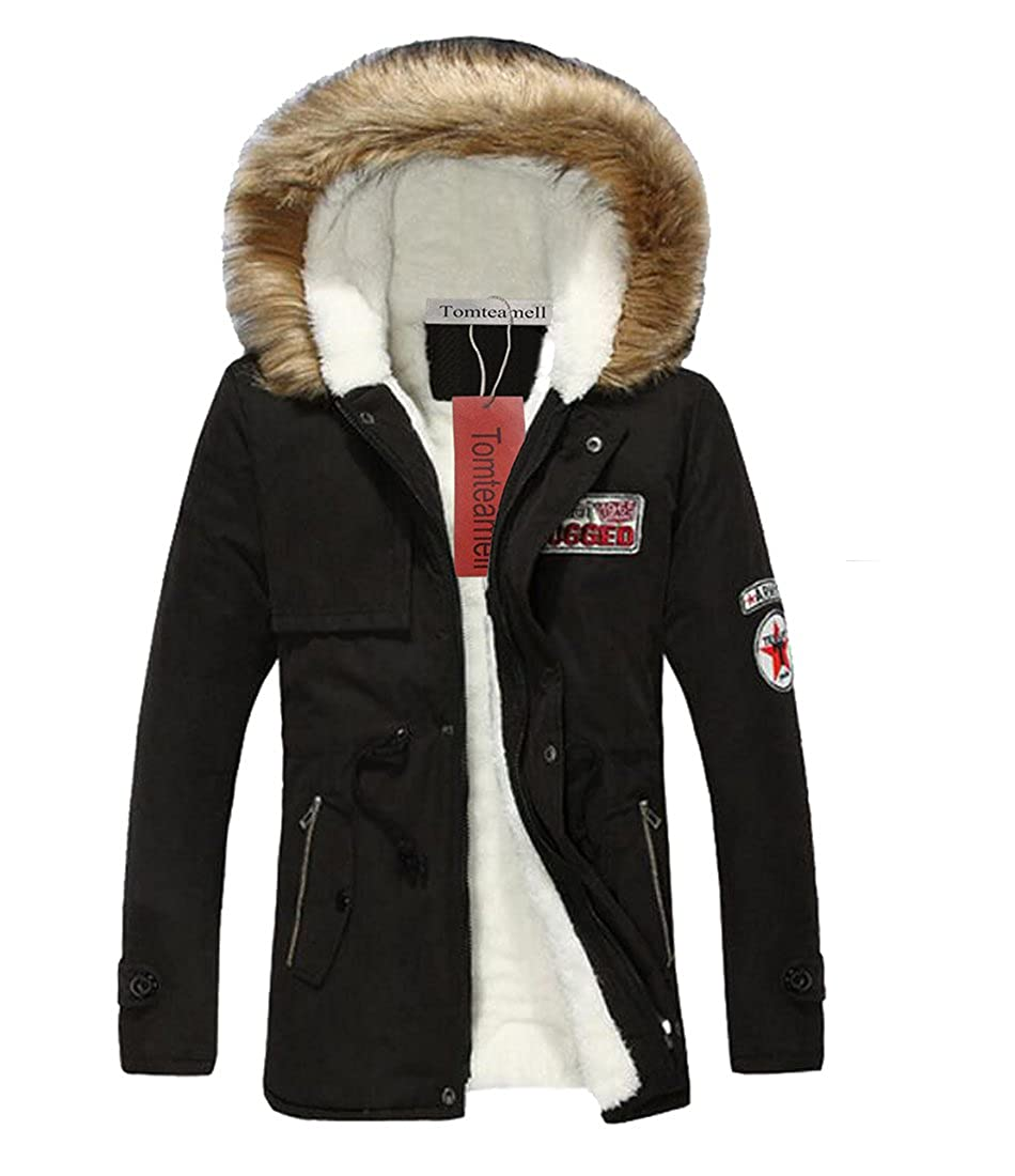 Tomteamell Mens Warm Fur Collar Hooded Parka Winter Thick Coat Outwear