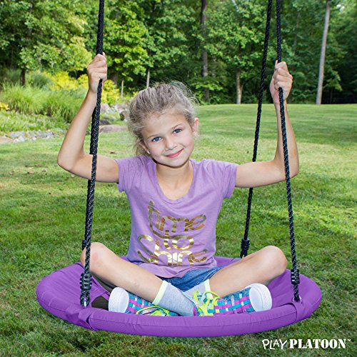 Flying Saucer Tree Swing Kit - Purple, 400 lb Weight Capacity, Fully Assembled, Easy to Install
