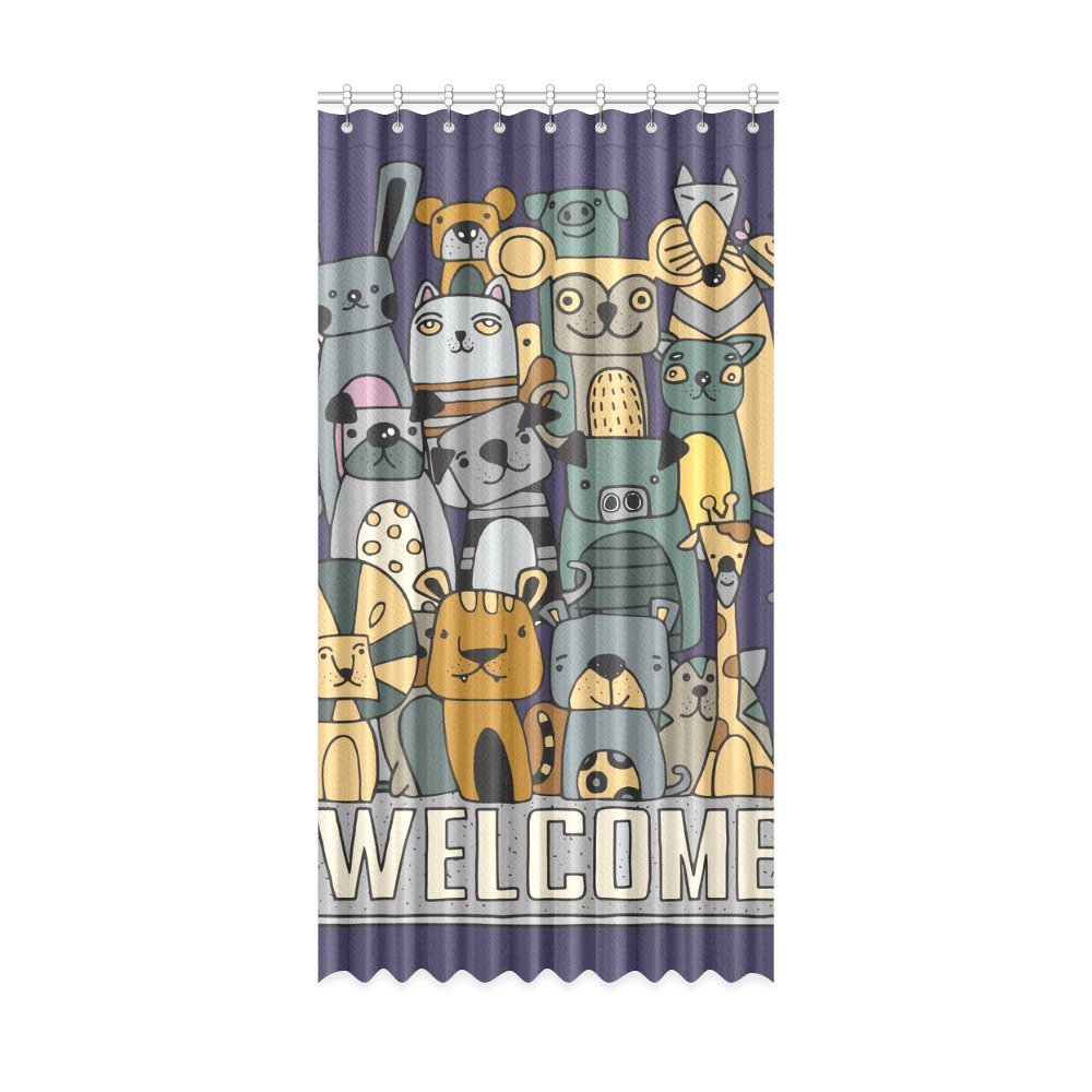 Happy More Custom Welcome Animal Cartoon Polyester Home Decorative Window Curtain 52x63 inch(One Piece)