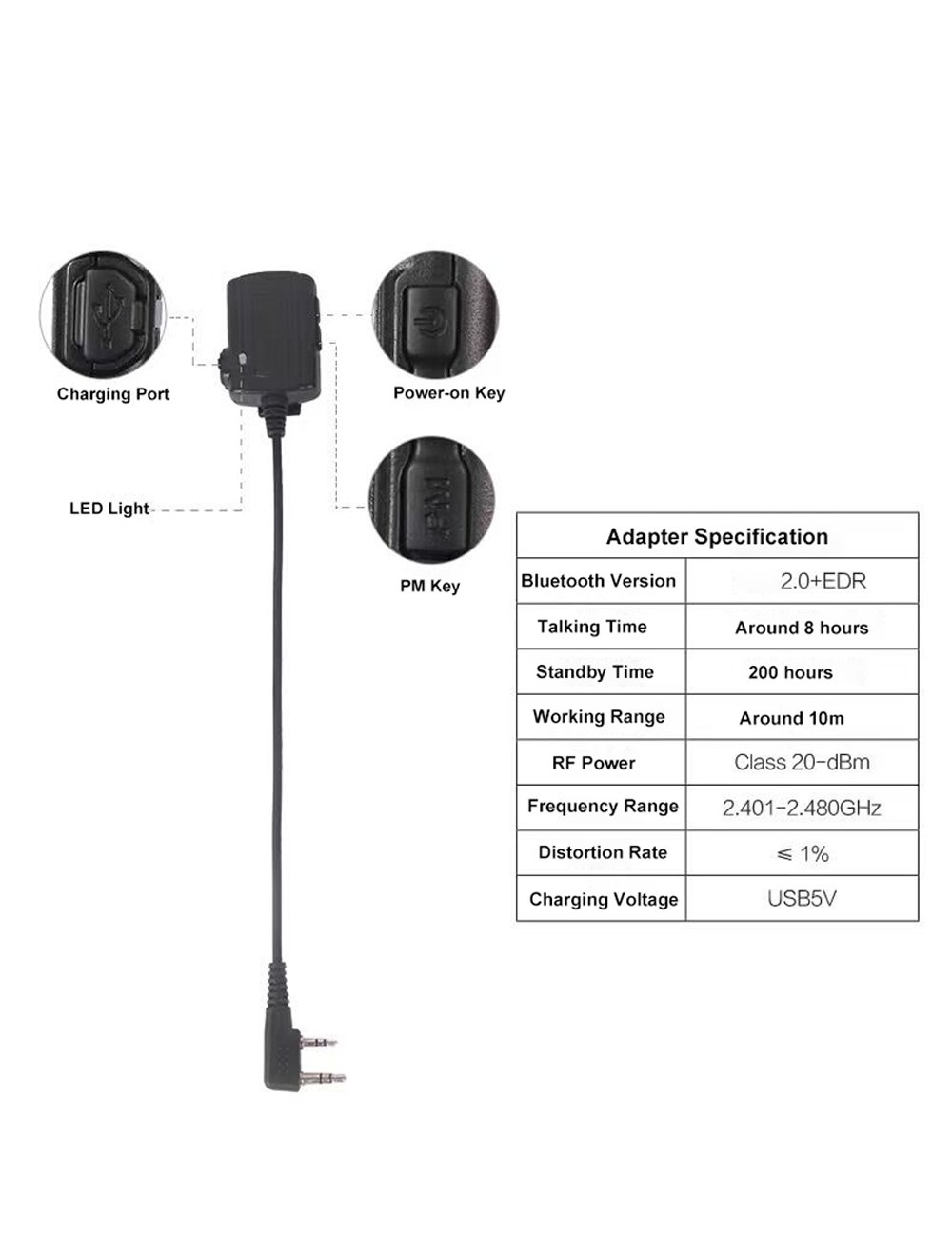 Amazon.com: ContalkeTech Walkie Talkie Wireless Bluetooth Headset for Motorola HYT Relm Tekk Two Way Radio M1 Connector Optional Connectors for Other Radios ...
