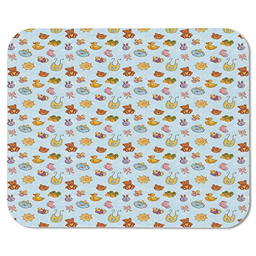 Baby Ordinary Mouse Pad,Newborn Sun Teddy Bear Ribbon Feeder Pacifier Chick Kitty Cat Design Decorative for Computers Laptop Office & -