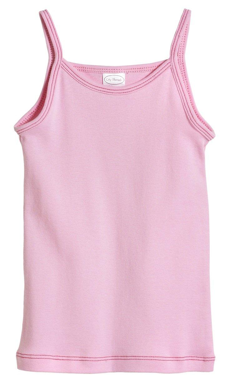 City Threads Little Girls' Cotton Camisole Cami Tank Top T-shirt Tee Tshirt spaghetti Straps Summer Play School Sports Sensitive Skin SPD Sensory Sensitive Clothing - Pink - 2T