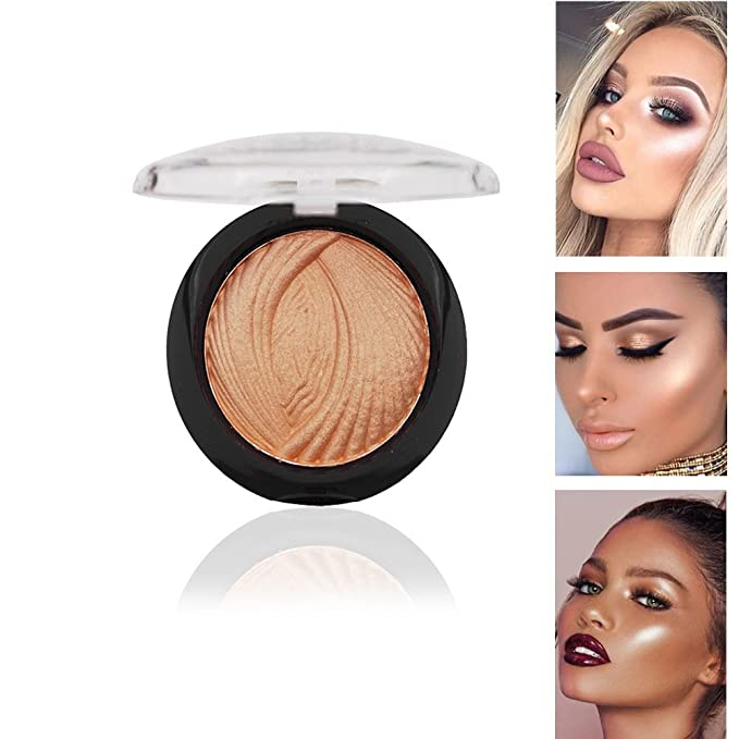 1PC Face Shimmer Illuminating Metallic Glow Highlighter Pressed Powder Palette (#4)