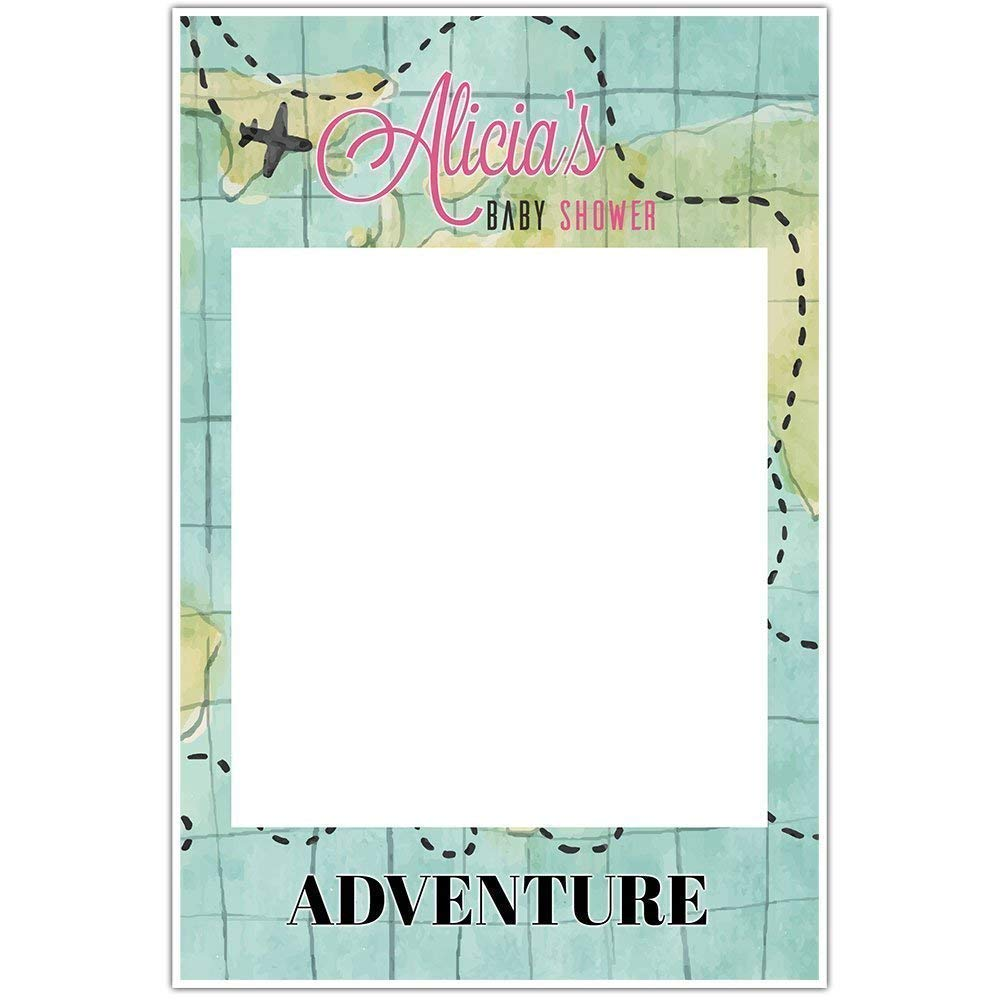 Map Adventure Baby Shower Girl Selfie Frame Poster