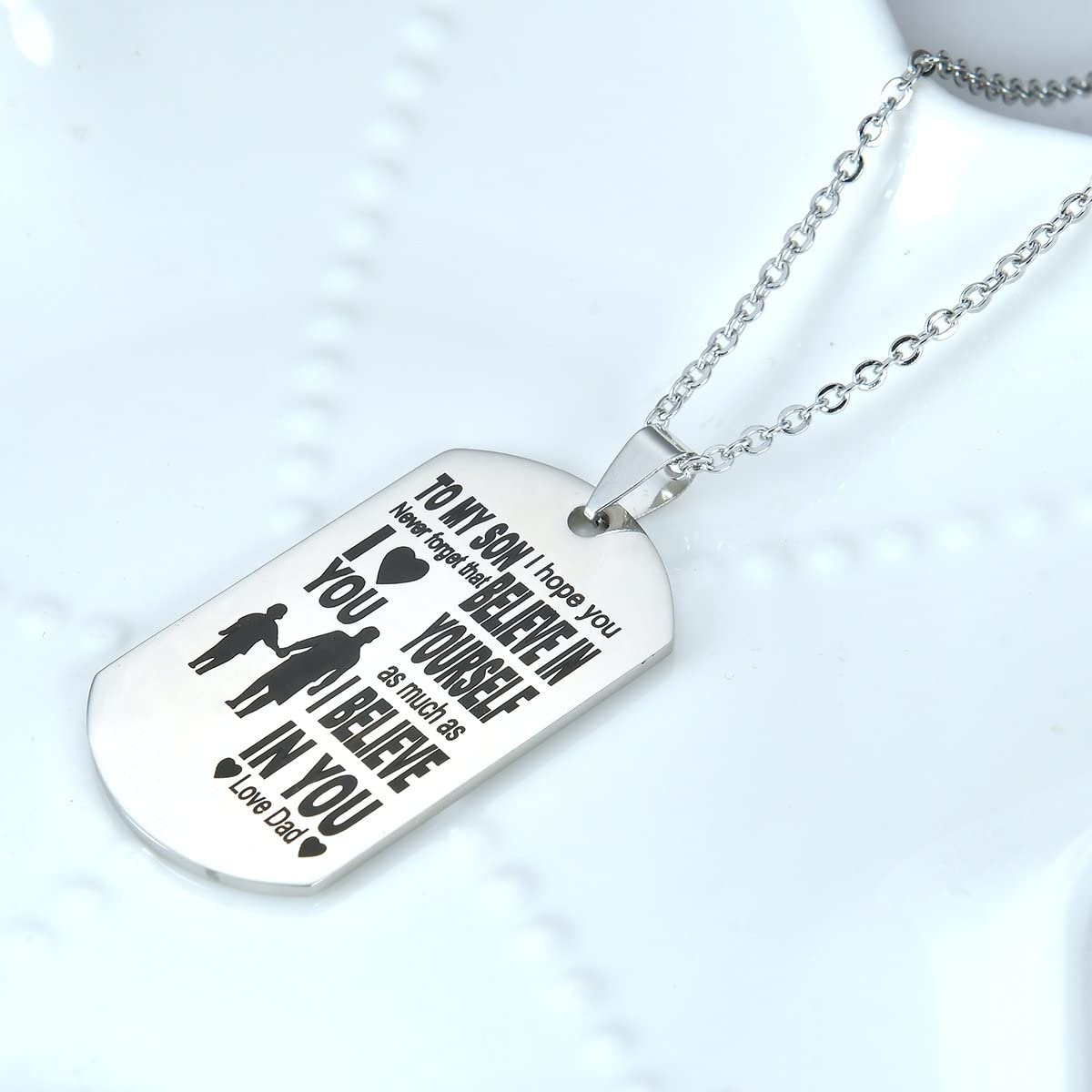 Best gift My Son Dog Tag From Dad Mens Boys Necklaces for Kids Child Teen Love Gift Military Air Force Pendant