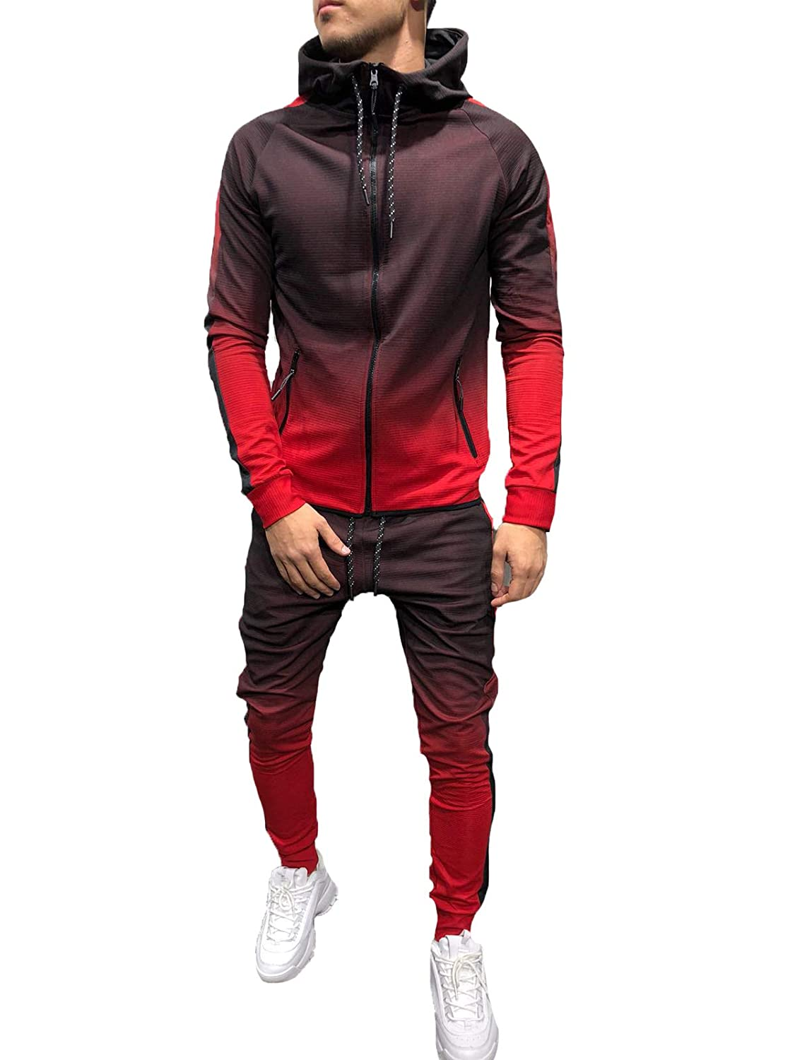 Mens Long Sleeve Zipper Gradient Hooded Sweatshirt + Long Pant Tracksuits 2Pcs Sets