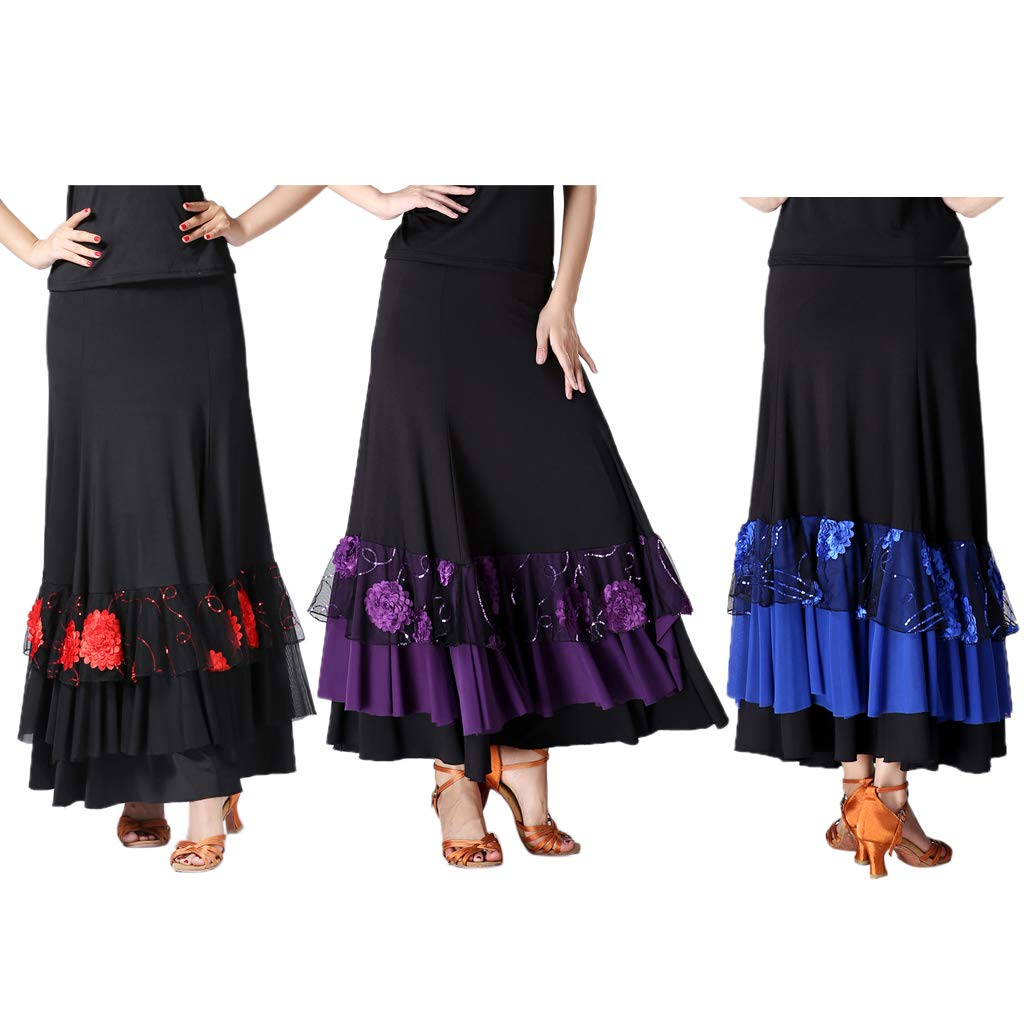 B Baosity Waltz Flamenco Tango Performance Moderna Elegante Donna Lunghe per Latino