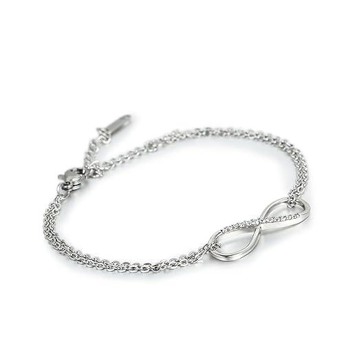 f12c3ae17f4e JewelryWe Schmuck Klassisch Infinity Unendlichkeit Zeichen Damen Armband,  Zirkonia Edelstahl Armkette Verstellbar Charm Armkettchen Armreif, ...