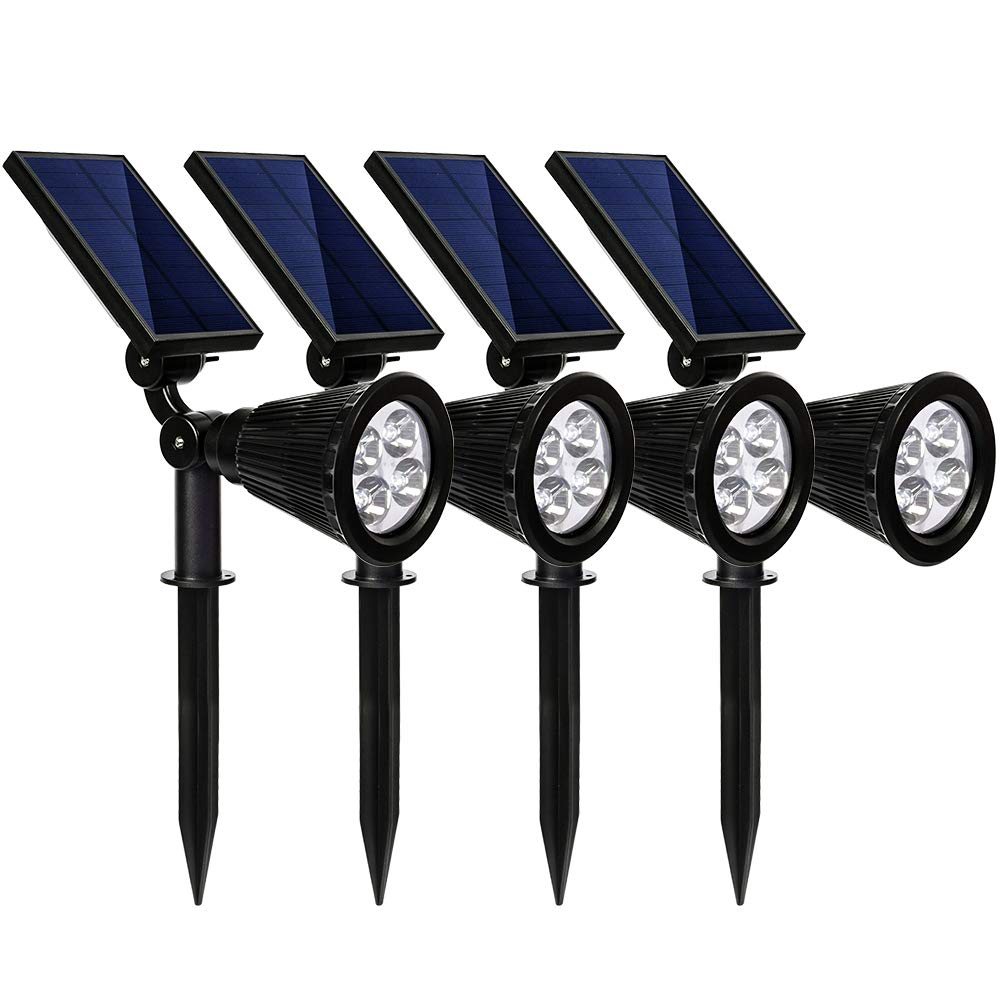 kaizein Solar Spotlights Outdoor, 2-in-1 Waterproof Solar Powered Lights Landscape Lighting Adjustable Wall Light,Solar Lights, Auto On/Off for Yard Garden Driveway Pathway Lawn Pool, 4 Pack (White)