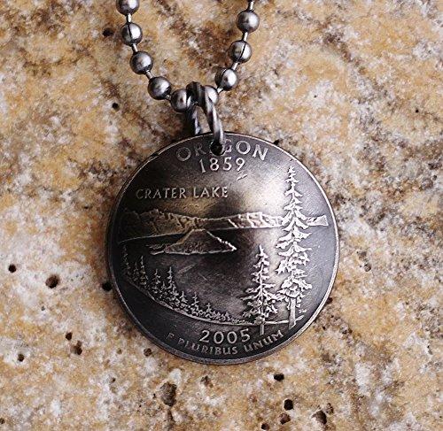 Domed Coin Necklace Oregon U.S. State Commemorative Quarter Crater Lake Pendant 2005