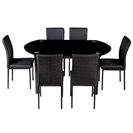 Woodness Kazhan 6173+6035 6 Seater Dinning Table Set (Glossy, Black)