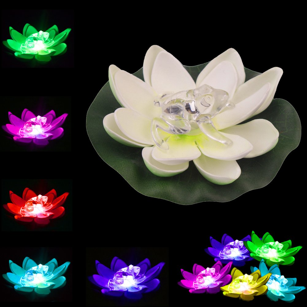 LOGUIDE Frog LED Lotus Light Waterproof Firefly Trendy Hip Unique Color-Changing Flower Night Lamp Garden House Lights Pool Party Fancy Ideal Novel Creative Gift Christmas (Frog)