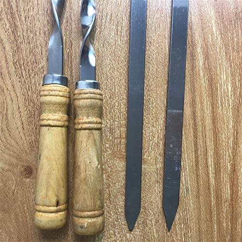 """Finer 6 Pz 55 cm 21,5""""BBQ Spiedino in Acciaio Inox Shish Kebab BBQ Forchetta Set Manico in Legno Lungo Piatto Barbecue Ago Carne Griglia Attrezzi Esterni, 10 pz 12pcs"""